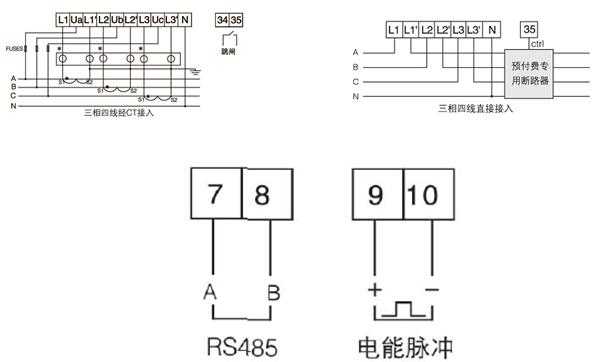 1、概述 电子式预付费电能计量装置采用导轨式安装结构,主要用于计量额定频率50Hz的单相、三相交流有功电能,具有预付费、负载控制及RS485通信等功能,性能指标符合GB/T18460.3-2001标准。是改革传统用电体制,提高用电管理水平的理想电能表。 2、产品规格  3、产品功能  4、技术参数  5、接线端子  DDSY1352单相预付费电能计量表  DDSY1352-NK单相内控型预付费电能计量表  注:7、8为时钟与有功脉冲复用端子,默认为有功脉冲输出。 DTSY1352三相预付费电能计量表