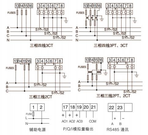 电压,频率,功率,功率因数等电参量,经隔离变送成线性的直流模拟信号或