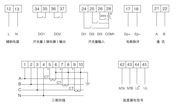图4 ARCM200BL型监控探测器 功能  可在线监测多路的漏电流,各相电缆温度信号;  额定剩余电流动作值,脱扣延时,可根据需要灵活设置,温度动作也可编程;  画面暂留功能,漏电故障发生时该通道显示画面暂留,显示该通道漏电或超温时的值,方便上位机的故障记录;  采用现场总线通讯技术,上位机管理软件可以时刻监控现场的运行情况,及时发现报警信息。通过RS485接口,标准Modbus协议可以与各种标准系统相连;  具有事件存储功能,监控探测器能够记录报警发生的时间、类型、参数,根据报警记录可以分析