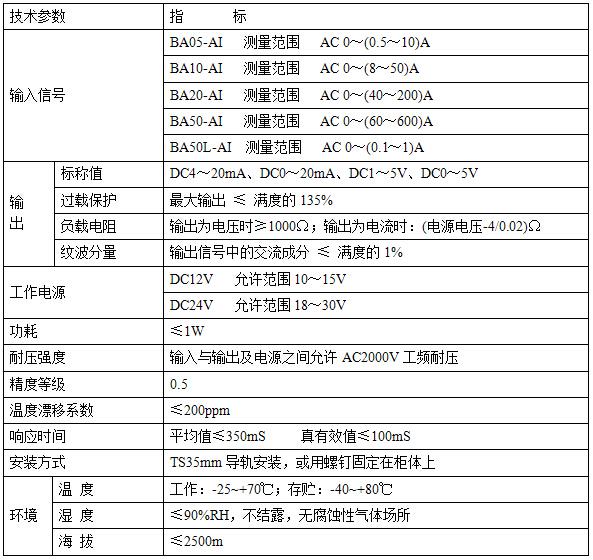交流电流传感器安科瑞ba05-ai/i 厂家直销      ba系列中剩余电流