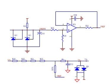 ub,uc采用电阻降压的方式,给采样信号加入抬高电压vref,使交流信号的