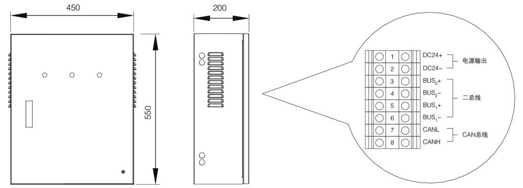 断电关门   备注:①当防火门监控系统所带点数较多时,可采用区域分机